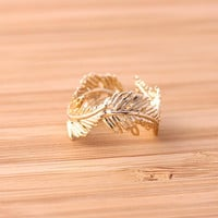 Greek feather ring adjustable gold by bythecoco on Etsy