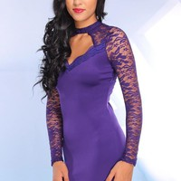 Purple Sweetheart Dress with Lace Sleeves & Cutout Back