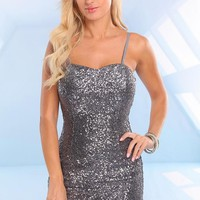 Silver Sequin Sleeveless Dress with Sweetheart Neckline