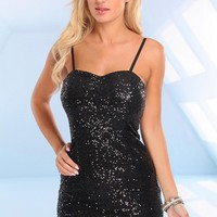 Black Sequin Sleeveless Dress with Sweetheart Neckline