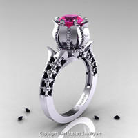Classic 14K White Gold 1.0 Ct Pink Sapphire Black Diamond Solitaire Wedding Ring R410-14KWGBDPS