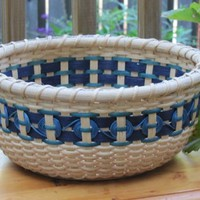 Karma Basket - Navy with Light Blue Circles