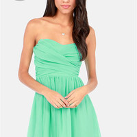 LULUS Exclusive Sash Flow Strapless Mint Green Dress