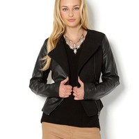Yoki Faux Leather Sleeves Jacket - The Perfect Fall Outfit - Modnique.com
