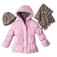 Pink Platinum Toddler Girls' Puffer Jacket w/ Scarf