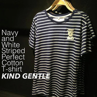 Blue Navy and White Strip Cotton T-Shirt with Stitched Pocket , Clothing , T-Shirt