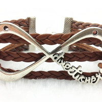 larger infinity bracelet, brown rope bracelet personalized cute bracelet best friend Gift A025