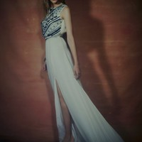 Beaded Silk Chiffon Gown