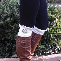 Monogrammed Crochet Lace Boot Socks Leg Warmers