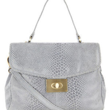 Mid Grey Snake Print Leather Tote Bag