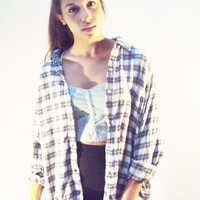 vtg 90s FLANNEL shirt Oversize Plaid Shirt Classic Blue Black Grunge Print by DKNY S, M 1990s Fashion