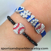 Personalized Jersey Number Bling Sports Bracelet with Heart and Rhinestone Sports Charm and Black Bead Stretch Baseball Bracelet Set