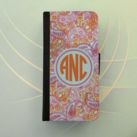 Paisley orange pink monogram iPhone 4 5 flip case Samsung Galaxy S3 S4 wallet, personalized iPhone wallet, book style, Samsung iPhone 5
