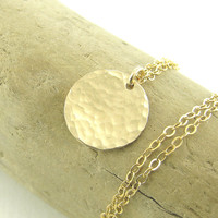 Gold Circle Necklace Small 1/2 Inch Pendant Handmade 14k Gold Fill Designer Fashion Jewelry - Delicacy Necklace