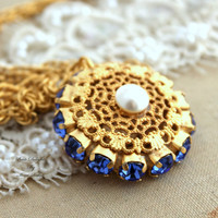 Gold lace Rhinestone necklace Blue sapphire white pearl classic feminine jewelry - 14k Gold plated necklace with Swarovski Crystals.