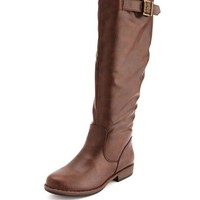 KNEE-HIGH BUCKLED RIDING BOOT