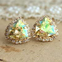 Rhinestone Crystal Luminous Green stud earring bridesmaids gifts bridal earrings - 14k 1 micron Thick plated gold earrings real swarovski