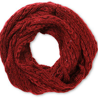 D&Y Dark Red Leaf Stitch Infinity Scarf