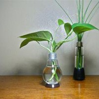 Repurposed Lightbulb Vase brown base by StarRedesigns on Etsy