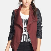 BRAND & LABEL COLLECTION Faux Leather Sleeve Twill Jacket (Juniors) | Nordstrom
