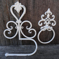 Antique White Towel Ring And Toilet Tissue Holder , Fleur de lis Bath Set , Decorative Bath Fixture , Bathroom Accessories , Towel Hook