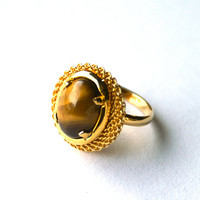 Tiger's Eye Ring Adjustable Gold Tone Vintage