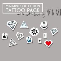 InknArt Temporary Tattoo - 12PCS MINI SET pack tattoo collection quote wrist neck ankle body sticker fake tattoo