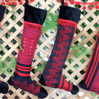 Tribal Christmas Stockings in Ethnic Naga Textiles Red and Black