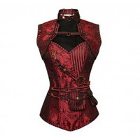 ND-017 - Red Brocade Pattern Steampunk Corset with Matching Jacket