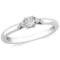 Lab-Created White Sapphire and Diamond Accent Three Stone Promise Ring in Sterling Silver