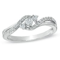 1/4 CT. T.W. Diamond Bypass Promise Ring in 10K White Gold
