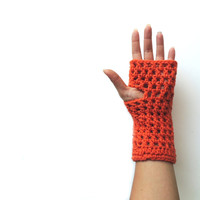 Fingerless gloves, Fingerless mittens, Orange Crochet fingerless glove, long fingerless glove, arm warmers