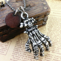metal chain necklace hand bone pendant men leather long necklace, women metalwork necklace L-15