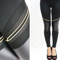 Leather Patchwork with Zipper Leggings