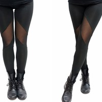 Thigh Mesh Sassy Black Leggings
