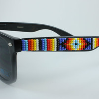 Beaded Sunglasses Blue Fire