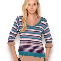 Maglierie Di Perugia Striped Wool Sweater- Made in Italy - Fall essentials - Modnique.com