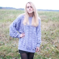 Vintage 80s Pastel Purple Oversized Sweater - XL