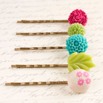 Flower Bobby Pins Floral Hair Accessories Pink turquoise Rose Hair Pin Woodland Romantic Country - Set of five (5)
