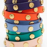 Tory Burch Logo Leather Wrap Bracelet