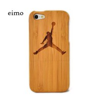 eimolife(TM) Natural Handmade hard wood Bamboo Case Cover for iphone 5 with free screen protector(Jordon)