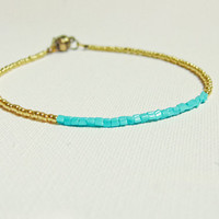 Simple Turquoise gold anklet/ bracelet, Modern anklet. Sexy foot jewelry