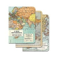 Set of 3 Cavallini Mini Map Journals