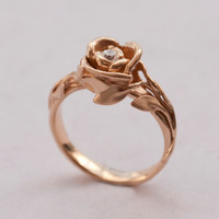 Rose Engagement Ring - 14K Rose Gold and Diamond engagement ring, engagement ring, leaf ring, flower ring, antique, art nouveau, vintage