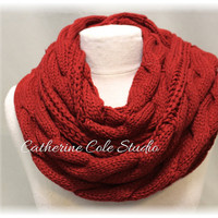 CUDDLY CABLE in Dark Red, Chunky cuddly ultra soft cable knit infinity scarf ,winter tube scarf for women by Catherine Cole Studio SC31