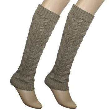 Cable Knit Trimmed Classic Boot Shaft Style Soft Acrylic Leg Warmer