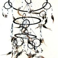 "Feather Dream Catcher Dreamcatcher Native American Style Feather, TRIPLE BLACK -X LARGE - 30""L X 10""D"