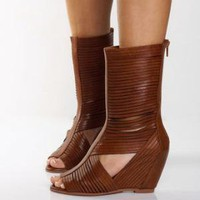 Jeffrey Campbell Chives HI Brown Slatted Leather Boots - $169.00