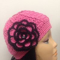 Pink and Black Hat , Knitted Hat ,with Flower Hat , Handmade Hat,Cozy Woman's Winter Hat,Women Hat