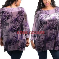 SeXY Women's Plus Size Velvet Lace Sheer Top Blouse Tunic Shirt 3/4 Sleeve 1X-3X